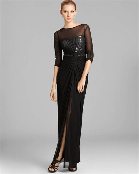 black beaded gown lyst papell veiled sequin gown three quarter