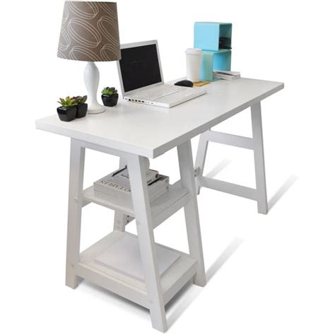 Designs 2 Go Trestle Desk By Convenience Concepts Trestle Desk White