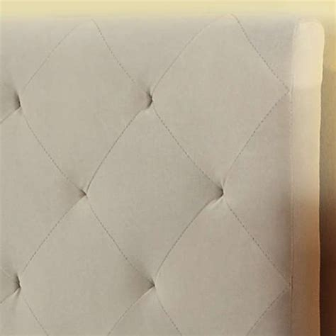 modern diamond button tufted taupe upholstered padded square queen headboard platform bed