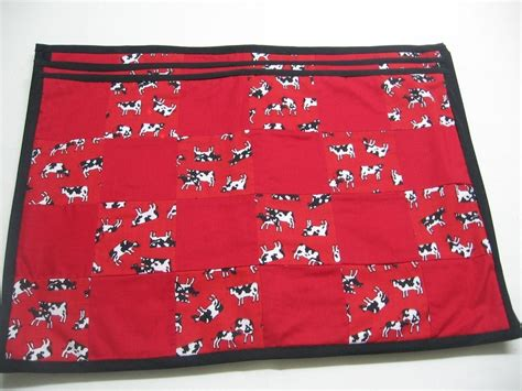 Patchwork Placemats - set of four large cow patchwork placemats
