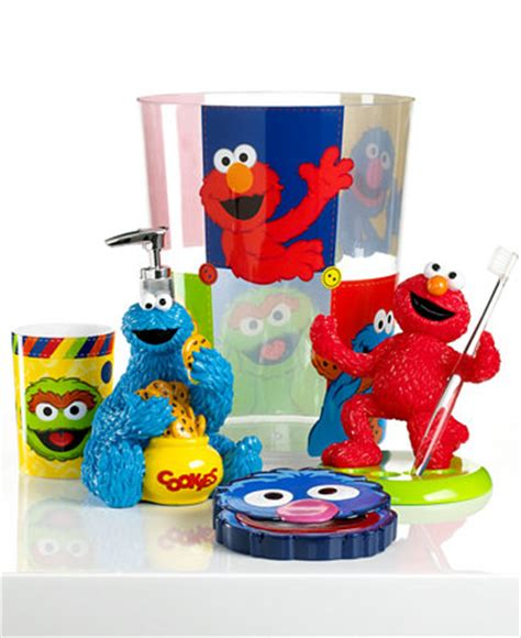 sesame street bathroom set jay franco bath accessories sesame street retro trash can