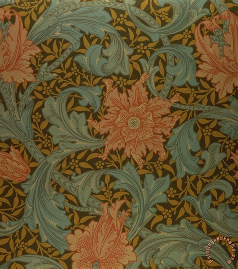 Blue Prints For A House by William Morris Single Stem Wallpaper Design Painting