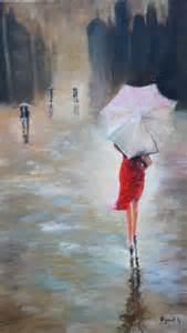 peinture femme sous la pluie