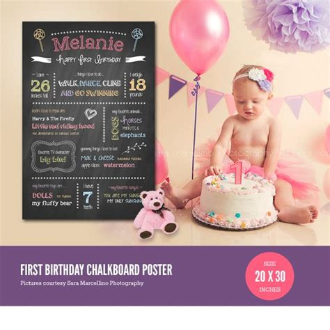 birthday poster template birthday chalkboard poster template baby