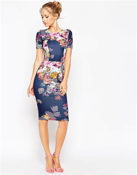 Blue Flowers Print Cocktail Dress asos floral print scuba bodycon dress in blue bluefloral