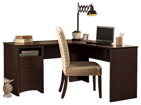 60 L Shaped Desk Bush Buena Vista 60 Quot L Shaped Desk In Cherry Transitional Desks And Hutches By Cymax