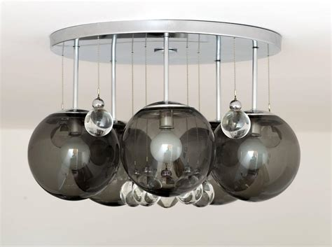 Glass Bubbles Chandelier Pair Of Smoke And Clear Glass Bubbles Chrome Flush Mount Chandelier Lights For Sale At 1stdibs