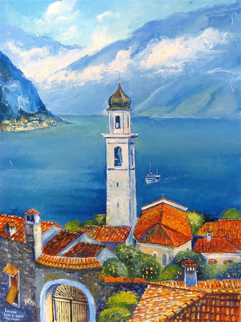 festival painting lago di garda limone lago di garda painting by mikhail zarovny