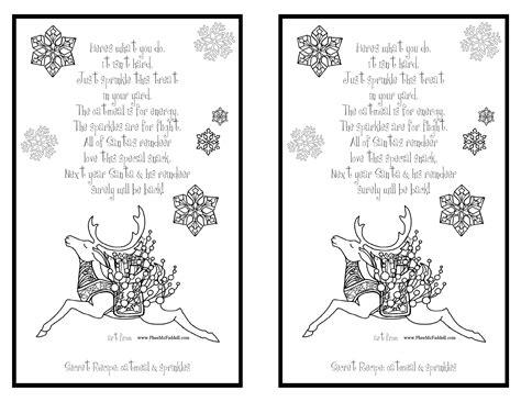 printable reindeer food poems 7 best images of page of reindeer food printable