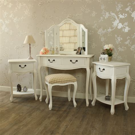 white dressing table stool mirror 2 bedside tables shabby french chic bundle ebay