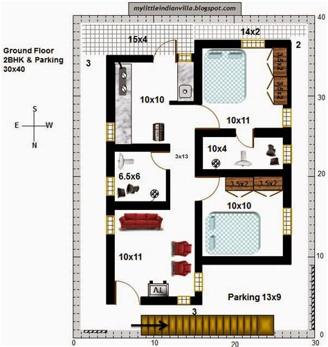 north facing floor plans my little indian villa 41 r34 2bhk in 30x40 north