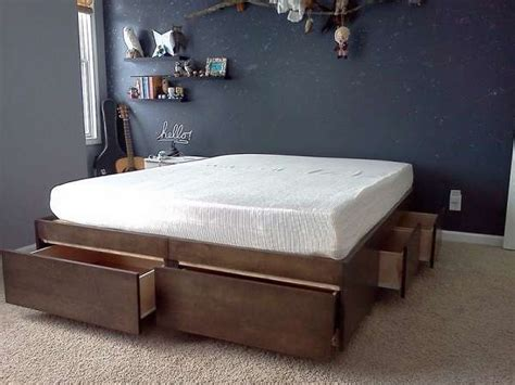 diy platform bed with storage diy platform bed storage drawers quick woodworking projects