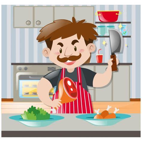 hombre cocinando hombre cocinando en la cocina descargar vectores gratis