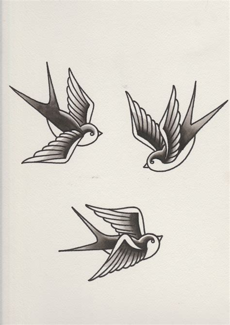 black and white swallow tattoo designs how to draw a of swallows in a retro style