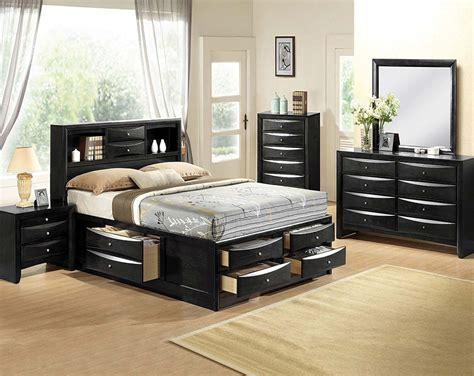 black bedroom suite mirror dresser emily storage