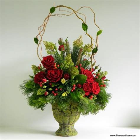 christmas flower arrangements christmas pinterest