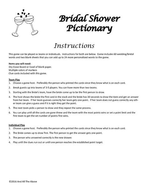 Bridal Shower Pictionary DIGITAL DOWNLOAD, Drawing Game