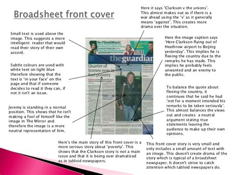layout features meaning comparing broadsheet and tabloid newspapers