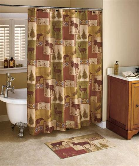 Lodge Shower Curtains 18 Pcs Bathroom Set Mountain Lodge Shower Curtain And Bath Accessories