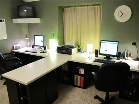 t shaped desk home office office looks - Two Person Desks For Home Office