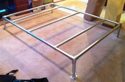 pipe bed bed made out of galvanized steel pipe and rail fittings