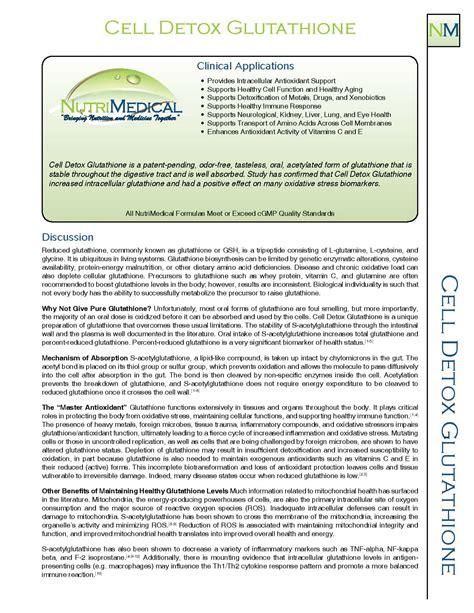 Glutathione Initial Detox Effects by Cell Detox Glutathione 60 Capsules Nutrimedical