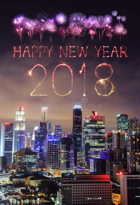 nightlife singapore new year 2018 happy new year firework sparkle with cityscape of
