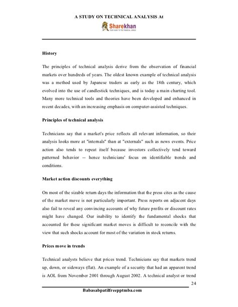 A project report on technical analysis at share khan