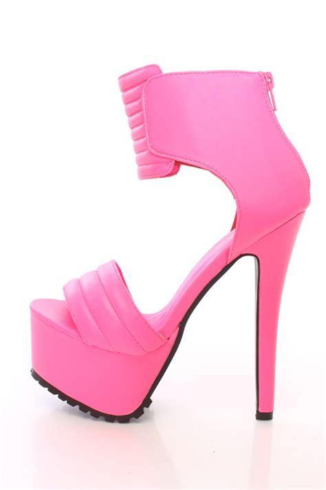 pink platform high heels neon pink platform high heels faux leather