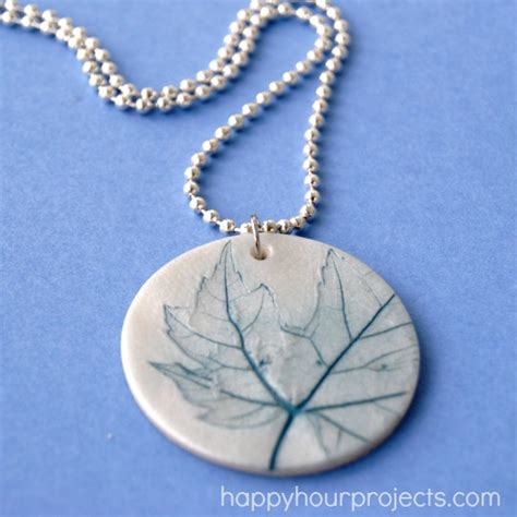 how to make clay jewelry leaf imprinted clay necklace happy hour projects