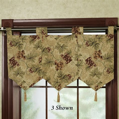 kitchen curtains with grapes floral jubilee empire valance light cream 110 x 28