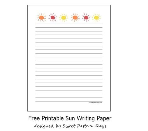 summer writing paper template free printable sun writing paper stationery