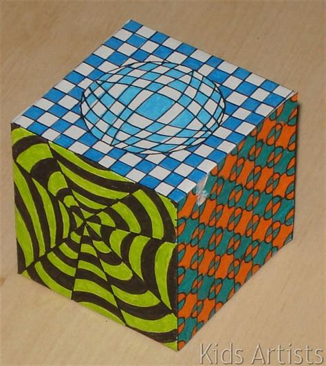 kids artists op art cube