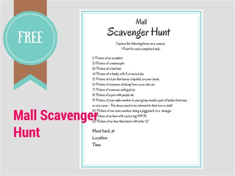 FREE Printable Scavenger Hunt Games   Birthday Party Ideas & Themes