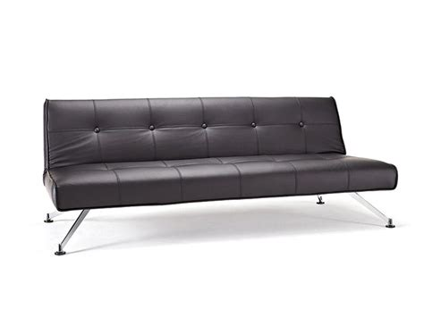 Contemporary Tufted Black Leather Sofa Bed On Chrome Legs Black Leather Contemporary Sofa