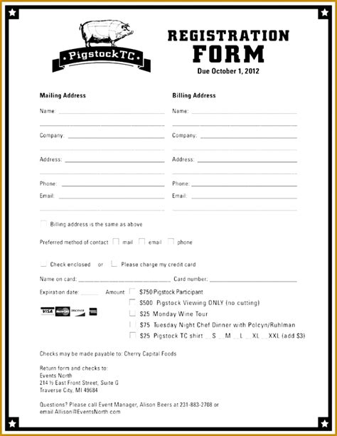 free golf tournament registration form template archives