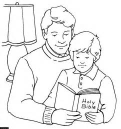 reading the bible coloring page happy fathers day and reading the bible