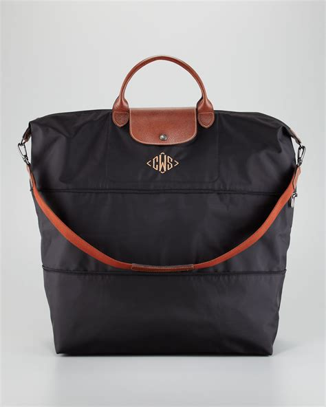 Lyst   Longchamp Le Pliage Monogrammed Expandable Travel Bag in Black