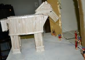 wordless wednesday trojan horse made using popsicle sticks