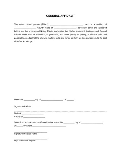 general affidavit template 28 images free affidavit