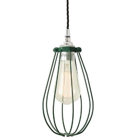 Classic Pendant Light Industrial Factory Style Cage Pendant Light In Green Painted Finish