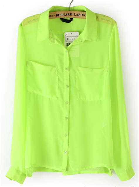 Blouse Lime neon green sleeve pockets front semi sheer