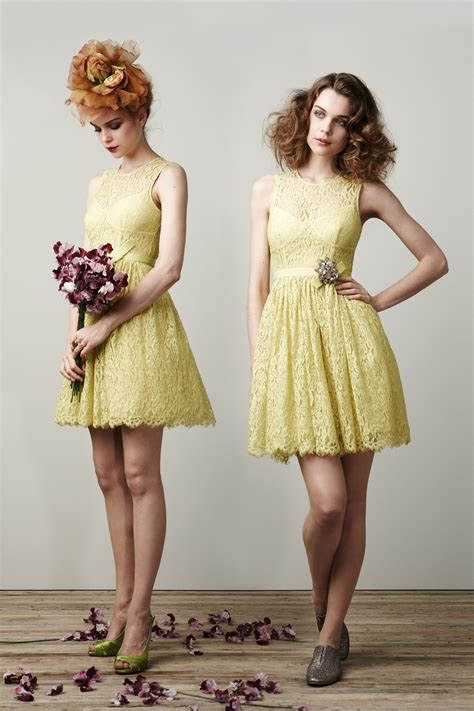 Light Yellow Bridesmaid Dresses by Pale Yellow Lace Bridesmaid Dresses Onewed