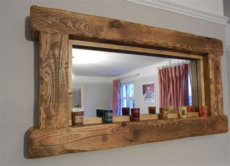 western mirrors for the bathroom chunky rustic reclaimed wooden mirror tea light shelf wall