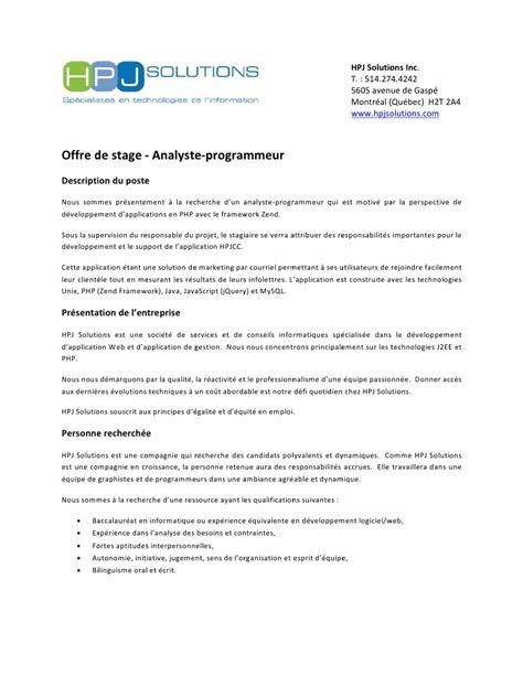 Offre De Stage Lettre Offre De Stage Analyste Programmeur Php 224 Montr 233 Al