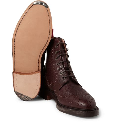 thom browne pebble grain leather brogue boots in brown for