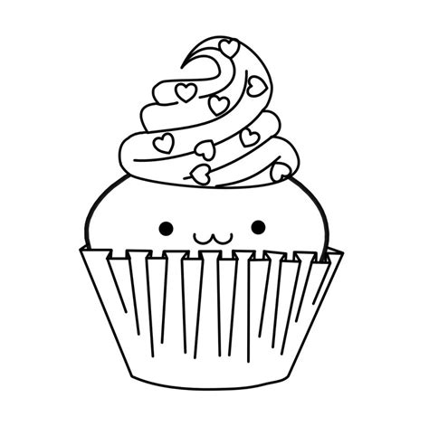 cute cupcake lineart by panda in wonderland on deviantart