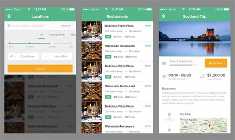 restaurant iphone app psd template