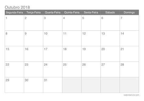 Calendario Outubro De 2018 Calend 225 Outubro 2018 Para Imprimir Icalend 225 Br