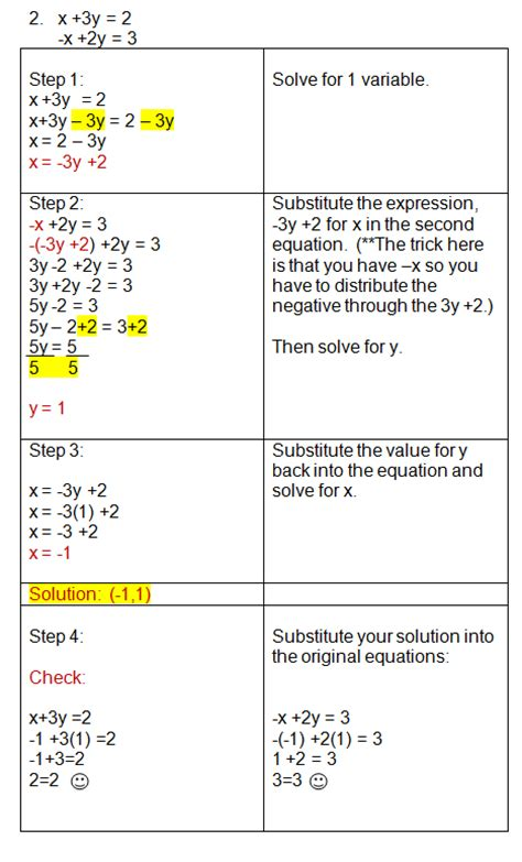 solving systems using substitution practice problems